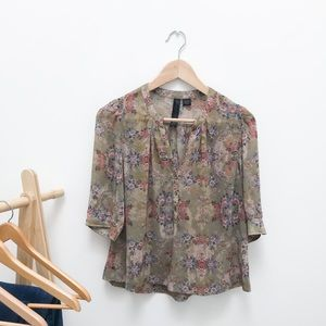 Sheer Floral Boho Blouse Button Up 3/4 Sleeves